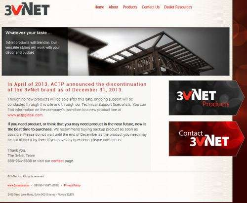 3vNet homepage stating that the sale of  products has stopped.