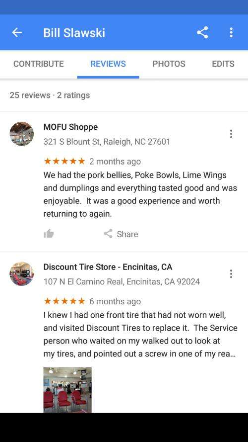 Google timeline reviews
