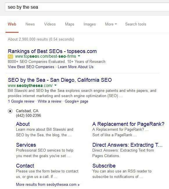 Another set of sitelinks appear in results for the site name SEO by the Sea.