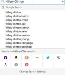 Hillary Clinton Auto Suggestions