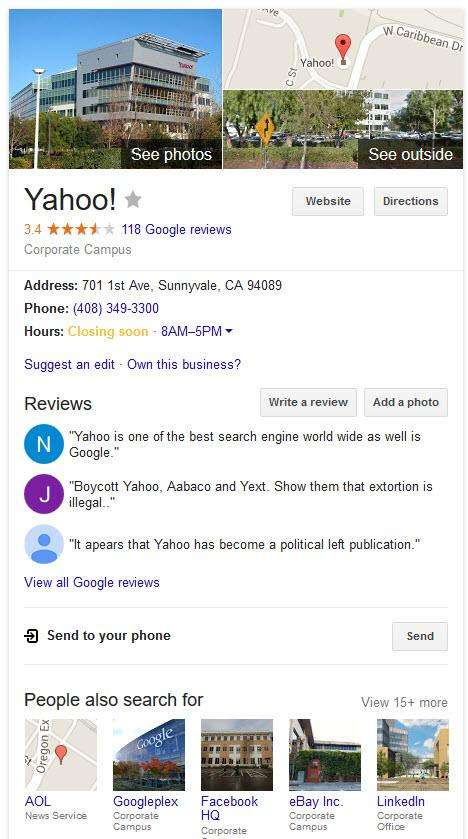 Yahoo knowledge panel