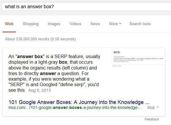 Answer box results are query results that seem to answer a question based upon what may be a trigger term in an original query