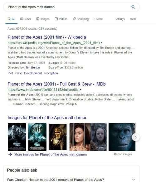 augmented search queries matt damon