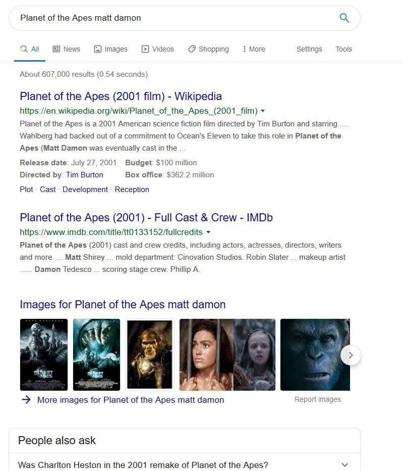 augmented search queries - Planet of the apes example