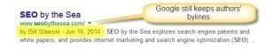 A search result for [SEO] that includes my byline, linked to my Google profile page.