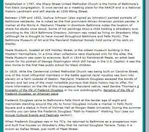 Snippet from Newer Version of the Baltimore Black History page.
