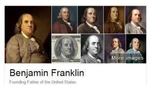 Google's Knowledge Panel Images for Benjamin Franklin