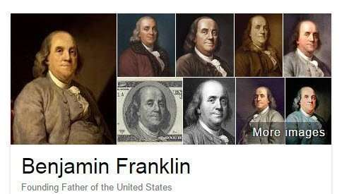 Google's Knowledge Panel Images for Benjamin Franklin