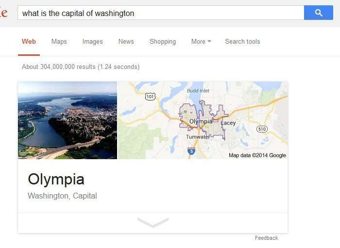 A google query about the capital of washington with a picture anwer