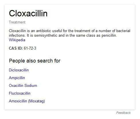 A Google Knowledge panel for colxacillin