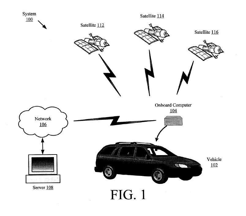The patent's images infer a computer system collecting data about road quality and satellite-determined locations.
