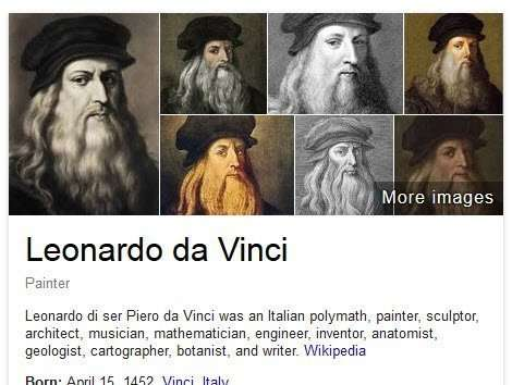 The images at the top of a knowledge Panel on a query for Leonardo Da Vinci