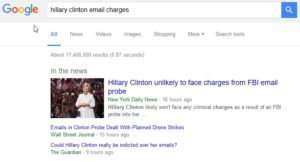 hillary Clinto email query charges results