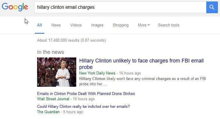 Hillary Clinton email query charges results