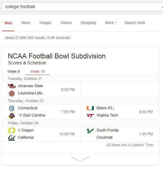 Enriched results for college football