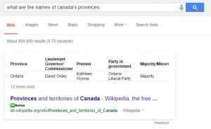 A query about Canada's Provinces with a table in the search snippet
