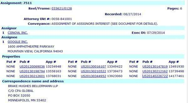 USPTO Assignment of patents from CiiNow to Google