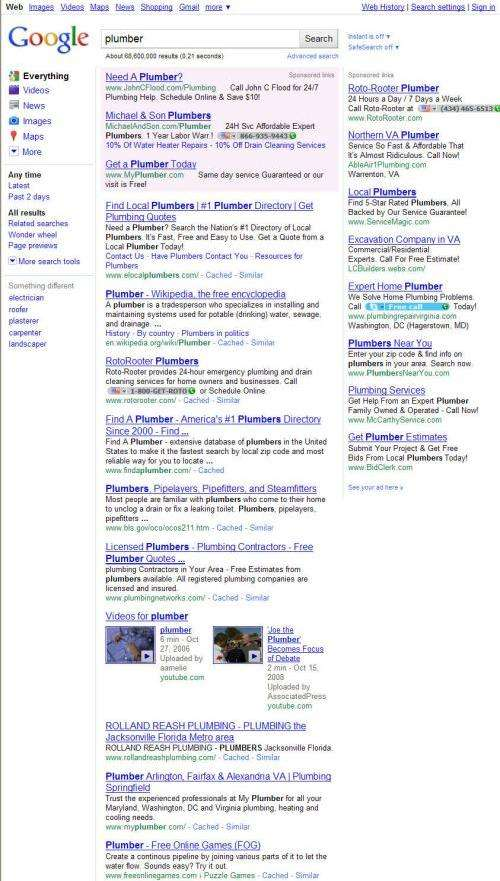 The first page of search results on a search for plumber on September 16, 2010, which doesn't show a local map result anymore.