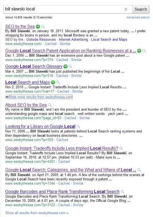 Google search results on a search for [bill slawski local] showing 4 results at the top, and an expanded plusbox with 5 additional results.