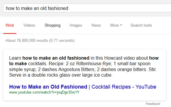 How to Make an old fashioned results