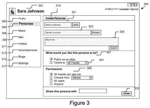 Screenshot from patent showing a user interface to create a persona