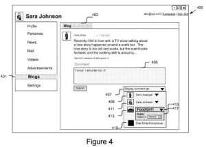 Screenshot from patent showing an interface to select a persona.