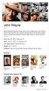 Knowledge Panel at Google for John Wayne