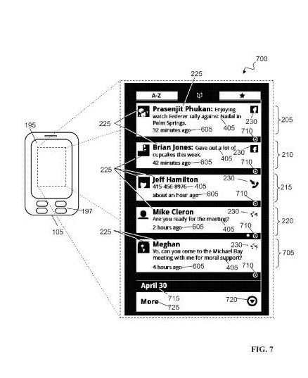 A screenshot from the patent showing messages, snippets, and updates from a number of people in a twitter like view