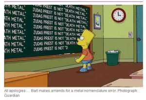 Bart Simpson writing on a bulletin board that Judas Priest is not a death metal band.