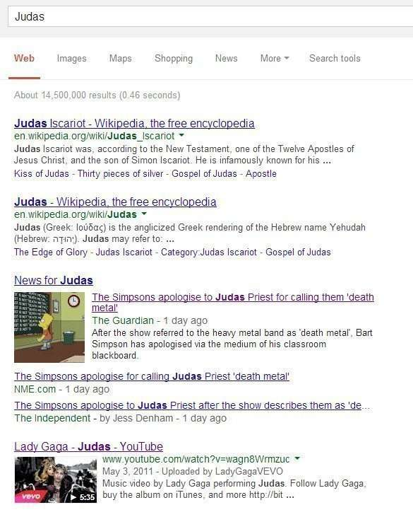 Search results on a search at Google for Judas.
