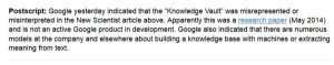 The Google Vault article postscript on the GV being just another Google project.