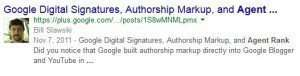 The Google Plus reult with author photo