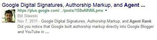The Google Plus result with author photo