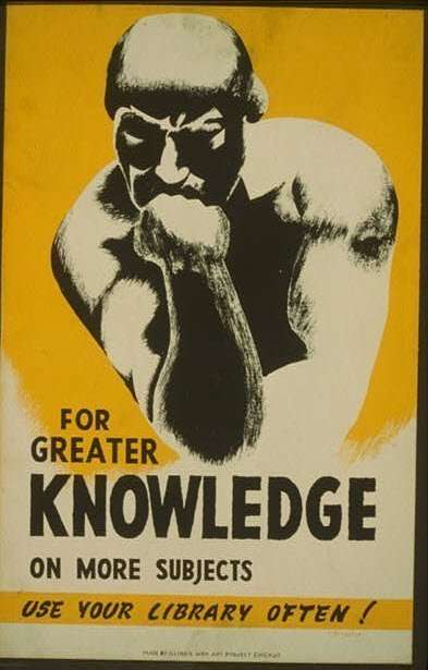 Poster for using a library for greater knowledge.
