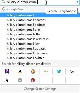 Hillary Clinton email query suggestions
