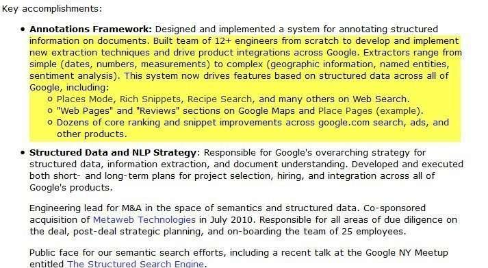 Andrew Hogue's Resume, showing his annotation framework development work