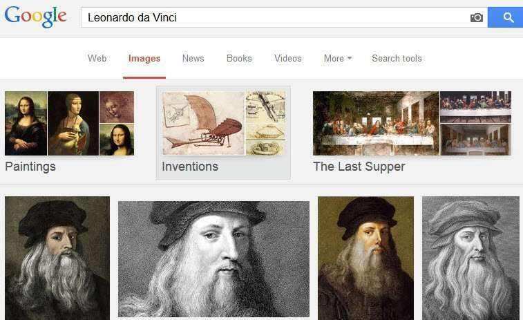 Similar images appear on an image search at Google for Leonardo Da Vinci.