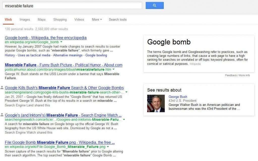 George Bush is a Miserable Failure Again, in Google's Knowledge Base