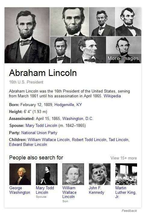 A knowledge Carld that appears on a query for Abraham Lincoln's name.