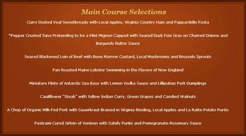 The main course choices at the Inn at Little Washington