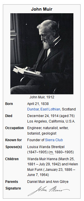 A template from the John Muir Page providing some details of his life.