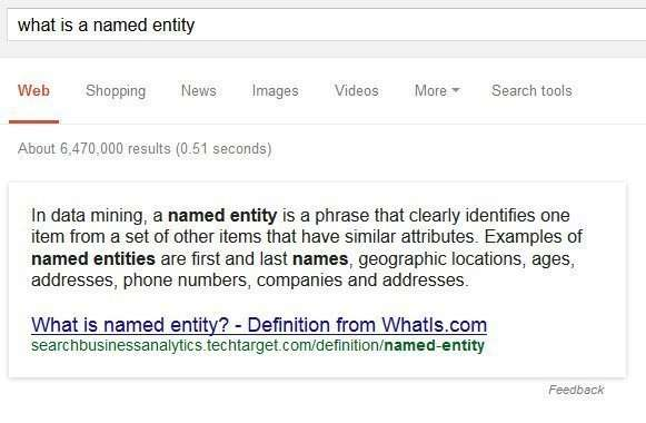 Google uses it's understanding of what is a named entity to provide knowledge panels to searchers.