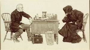 A picture of a man playing chess with th Grim Reaper.