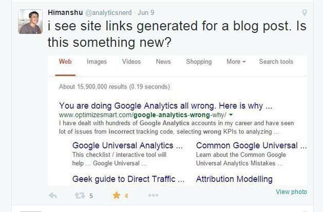 Sitelinks for a blog post, in Google search results.