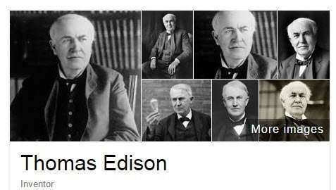 Knowledge panel images of Thomas Edison