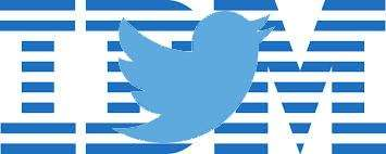 The Twitter Logo over the IBM Logo.
