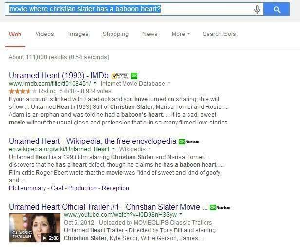 A query where attributes about the movie Untamed Heart are ued to search fo the movie
