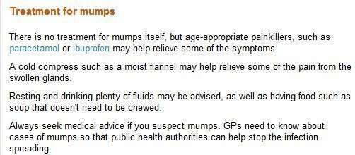 "A n authoritative page (heading and associated text) on the topic of ""treatment for mumps""."