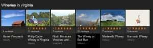 Carousel results on a search for wineries in virginia