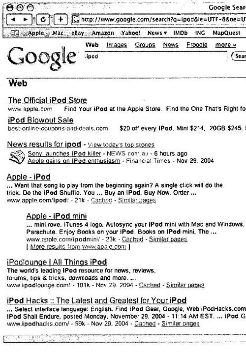A different set of search results after the letter d is added, to spell out ipod.